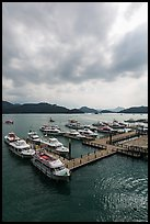 Tour boats, Shueishe Pier. Sun Moon Lake, Taiwan (color)