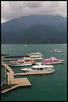 Tour boats. Sun Moon Lake, Taiwan (color)