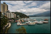 Shueishe Village waterfront and pier. Sun Moon Lake, Taiwan (color)