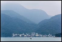 Itashao Village and mountains across lake. Sun Moon Lake, Taiwan (color)