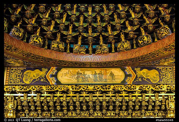 Detail of gilded ceiling and wall, Wen Wu temple. Sun Moon Lake, Taiwan (color)
