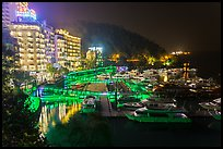 Harbor and waterfront at night, Shueishe Village. Sun Moon Lake, Taiwan (color)