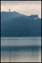 Syuanzang Temple and Tsen Pagoda in dawn mist. Sun Moon Lake, Taiwan ( color)