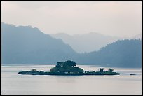 Lalu Island in early morning mist. Sun Moon Lake, Taiwan (color)