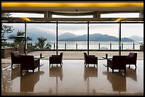 Lakeside hotel lobby. Sun Moon Lake, Taiwan (color)