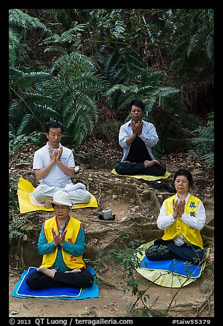 Members of religious sect in meditation. Sun Moon Lake, Taiwan (color)