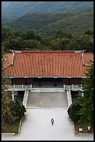 Woman and temple from above, Tsen Pagoda. Sun Moon Lake, Taiwan (color)