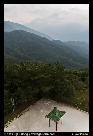 Pavilion from above and misty mountains, Tsen Pagoda. Sun Moon Lake, Taiwan (color)