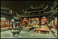 Courtyard, Tienhou (Matzu) Taoist Temple at night. Lukang, Taiwan ( color)
