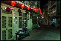 Nine-turns lane with red paper lanterns at night. Lukang, Taiwan ( color)