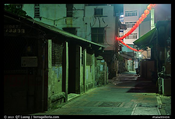 Old houses and lanterns on Chinseng Lane at night. Lukang, Taiwan (color)