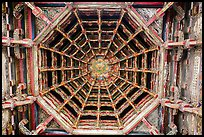 Intricate wooden plafond ceiling, Longshan Temple. Lukang, Taiwan ( color)