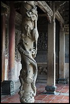 Carved dragon column, Hall of five gates, Longshan Temple. Lukang, Taiwan (color)