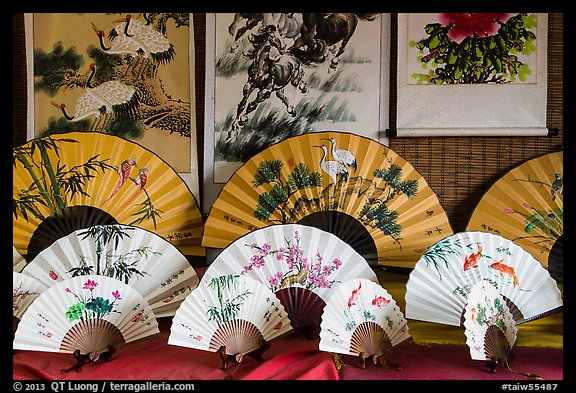 Fans and paintings. Lukang, Taiwan (color)