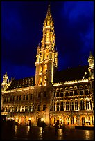 Town hall, Grand Place, dusk. Brussels, Belgium ( color)