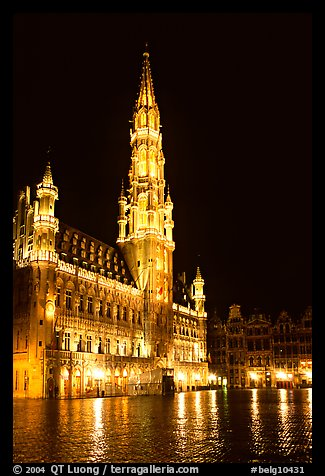 Town hall, Grand Place, night. Brussels, Belgium