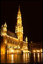 Town hall, Grand Place, night. Brussels, Belgium (color)