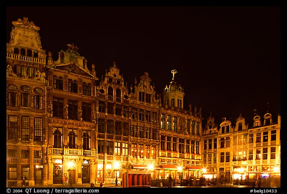 Guildhalls at night, Grand Place. Brussels, Belgium