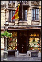 Lace store with Belgian flag, Grand Place. Brussels, Belgium