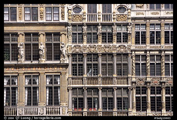 Detail of guild house facades. Brussels, Belgium (color)