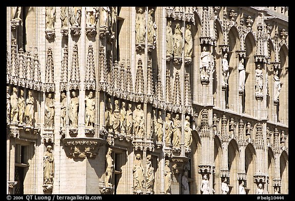 Detail of the gothic town hall facade. Brussels, Belgium (color)