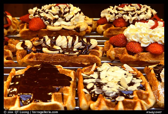 Belgian waffles with a variety of toppings. Brussels, Belgium (color)