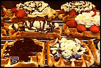 Belgian waffles with a variety of toppings. Brussels, Belgium