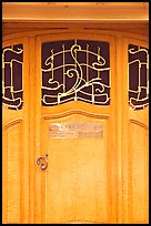 Door of Horta Museum in Art Nouveau style. Brussels, Belgium ( color)