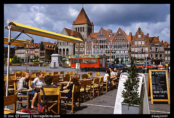 Outdoor cafe terrace, Grand Place. Tournai, Belgium (color)