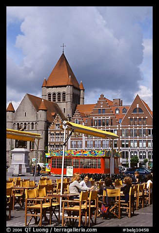 Outdoor cafe terrace, Grand Place. Tournai, Belgium
