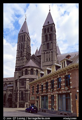 Notre Dame Cathedral, in romanesque style. Tournai, Belgium (color)