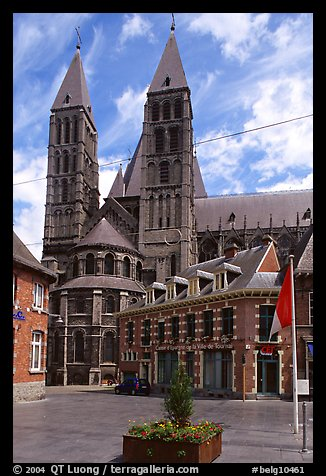 Notre Dame Cathedral, completed in the 12th century. Tournai, Belgium (color)