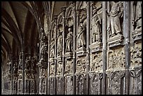 Carvings outside of Notre Dame Cathedral. Tournai, Belgium (color)