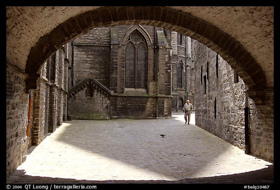 Arch ouside Notre Dame Cathedral. Tournai, Belgium (color)