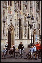 People standing on the Burg, in front of the Stadhuis. Bruges, Belgium