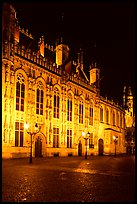 The Burg by night. Bruges, Belgium ( color)