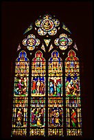 Glass stained window in the Basilica of Holy Blood. Bruges, Belgium (color)