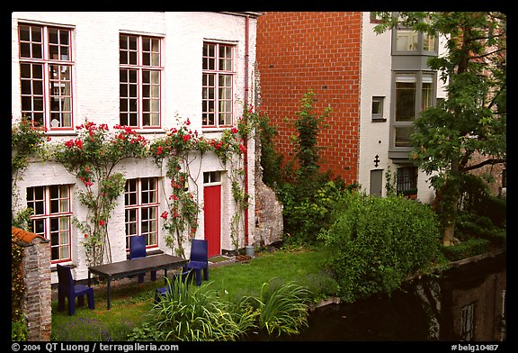Houses by the canal. Bruges, Belgium (color)