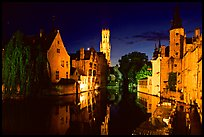 Old houses and beffroi Quai des Rosaires, night. Bruges, Belgium