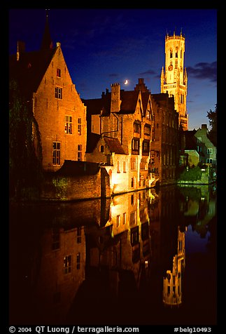 Old houses and belfry, Rozenhoedkaai, night. Bruges, Belgium (color)