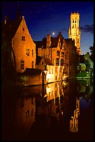 Old houses and belfry, Rozenhoedkaai, night. Bruges, Belgium