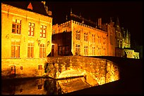 Bridge and house at night. Bruges, Belgium