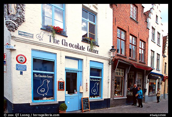 Street with chocolate shop. Bruges, Belgium (color)