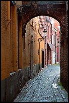 Narrow cobled street and archway. Bruges, Belgium (color)