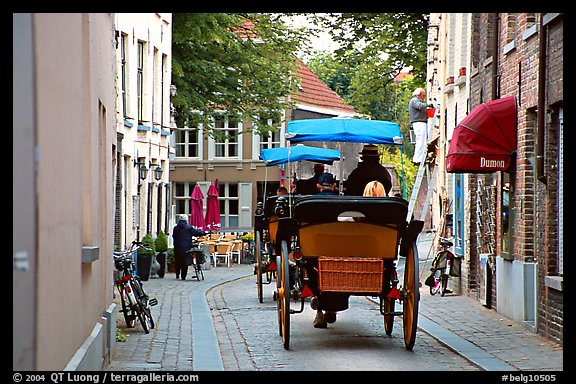 Horse carriage in a narrow street. Bruges, Belgium (color)