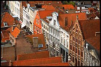 Red tile rooftops and facades. Bruges, Belgium ( color)