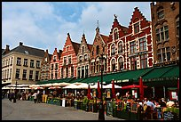 Restaurants and old houses on the Markt. Bruges, Belgium ( color)