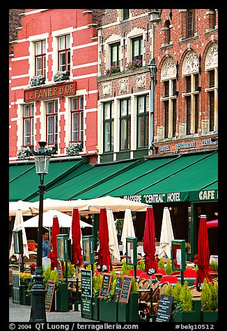 Restaurants and cafes on the Markt. Bruges, Belgium (color)