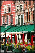 Restaurants and cafes on the Markt. Bruges, Belgium