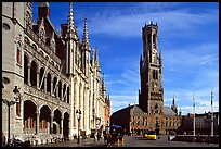 Provinciall Hof in neo-gothic style and beffroi. Bruges, Belgium ( color)